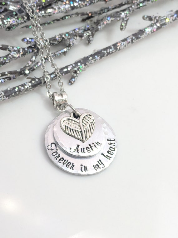 Forever In My Heart - Sympathy Gift - Memorial Necklace - In Memory Of Jewelry - Personalized - Hand Stamped Jewelry - Remembrance Keepsake