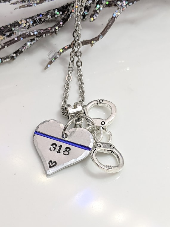 Thin Blue Line Necklace - Law Enforcement - Police Wife Necklace- Police Wife - Police Jewelry - Police Officer - Badge Number Necklace -LEO