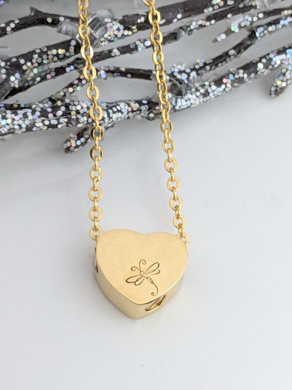 Gold Heart Urn - DragonFly - Urn for Ashes - Keepsake - Memorial Jewelry - Urn Necklace - Petite Urn - Loss Gift -  Remembrance Gift