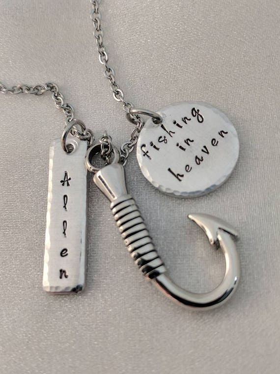 Fishing In Heaven - Fish Urn for Ashes - Personalized - Memorial Necklace