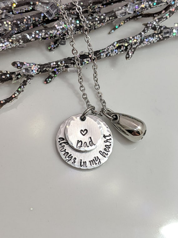 Always In My Heart-Teardrop Urn-Cremation Necklace-Ashes Holder-Personalized-Loss Gift-Memorial- Keepsake-Remembrance-Stainless Steel Heart