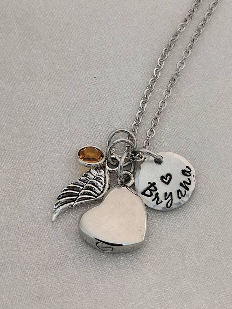 In Memory Of Ashes Necklace Urn Necklace Urn Jewelry Keepsake Jewelry Memorial Keepsake Hand Stamped Cremation Urn Jewelry
