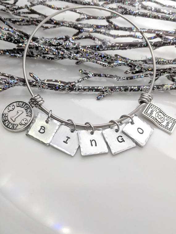 Bingo Bracelet-Lucky Bracelet-Bingo Gift-Bingo Jewelry-I Love Bingo-Bingo Charm Bangle-Gift for Bingo Player-Lucky Bingo Bracelet-Bingo Love