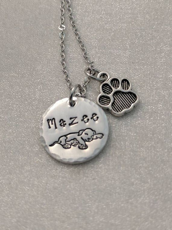 Dog Lover Necklace - Puppy Love Jewelry - Personalized Pet Necklace - Furbaby Mom Jewelry - Pet Name Necklace - Exquisite Stamp Design