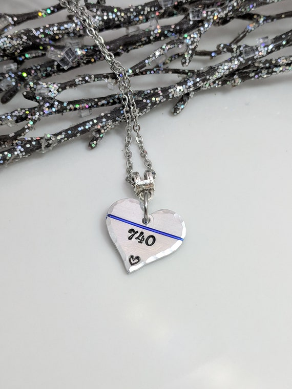 SALE - Back the Blue - LEO Support - Thin Blue Line Necklace- Police Wife Jewelry - Policewoman Necklace - Police Support - LEO