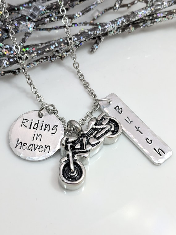 Motorcycle Urn - Personalized Urn Necklace - Riding in Heaven - Ashes Urn - Urn for Ashes - Sympathy Gift - Motorcycle Rider Memorial - Urns