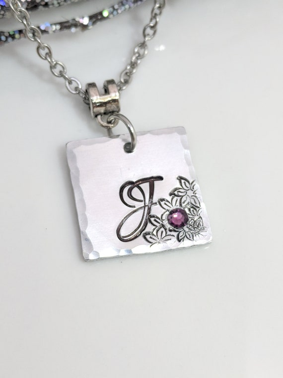 Initial Necklace - Initial Jewelry - Bridesmaid Gift - Gift for Her - Graduation Gift - Birthstone Necklace - Custom Letter Jewelry -Stamped