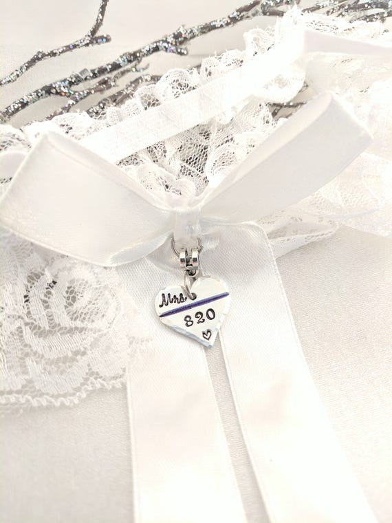Police Wedding Garter-Thin Blue Line-Police Garter-Police Wife To Be-Officer Wedding Garter-Personalized-Badge Number Garter-Bouquet Charm
