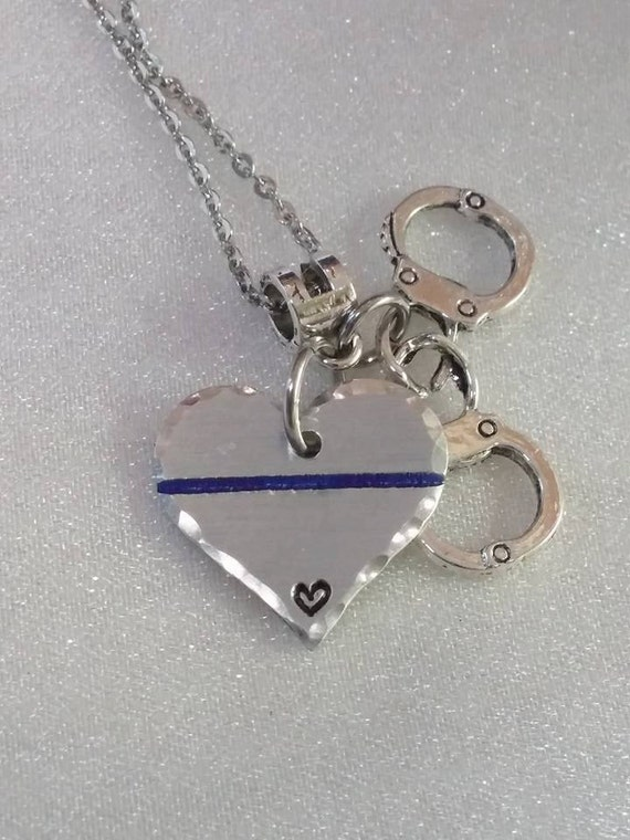 Police Wife Jewelry - Police Mom Necklace - Thin Blue Line Jewelry - Police Support - Handcuff Jewelry - Handmade - Unique Jewelry - Cop