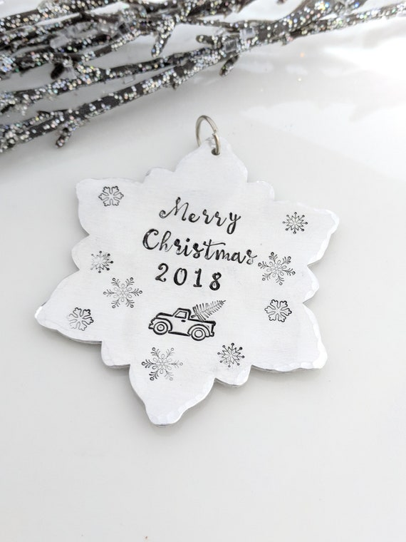 Handmade Ornament-Snowflake-Vintage Truck-2018 Christmas-Housewarming Gift-First Christmas-Secret Santa Gifts-Hand Stamped-Holiday Ornament