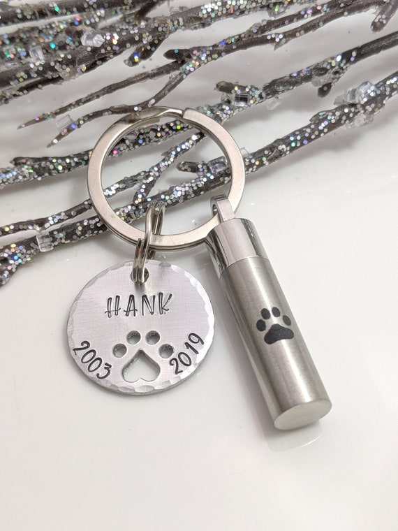 Dog Ash Urn - Personalized Urn Keychain - Loss of Dog - Pet Loss Keepsake - Custom Pet Urn - Pet Ash Keychain