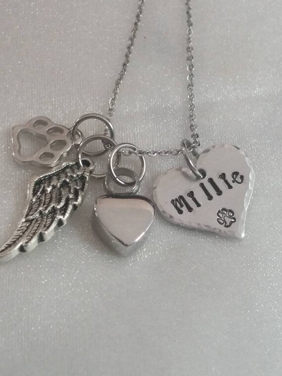 Pet Memorial Necklace - Personalized Pet Remembrance Jewelry - Pet Loss Necklace - Angel Furbaby - Dog Memorial - Pet Sympathy Gift - Paw