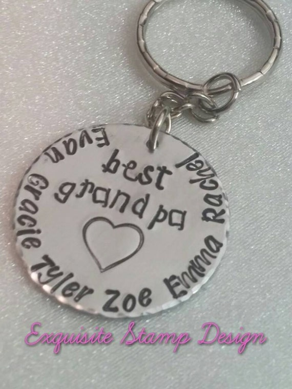 Best Grandpa - Keychain for Grandpa - Name Keychain - Customized Keychain - Gift for Grandpa - Kids Name Keychain - Handmade Gift - Grandpa
