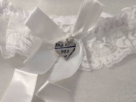 Police Wedding Garter - Thin Blue Line - Police Garter - Police Wife To Be - Officer Wedding Garter - Personalized - Badge Number Garter