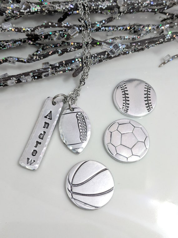 Sports Necklace-Football Jewelry-Baseball Necklace-Soccer Necklace-Basketball Necklace-Personalized Jewelry-Gift for Mom-Coach Gifts-Sports