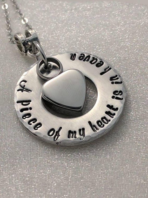 Urn Jewelry - Ashes Necklace - Memorial Keepsake - Ash Keepsake - Urn for Ashes - Urn Locket - Grief Gift - A Piece Of My Heart is in Heaven