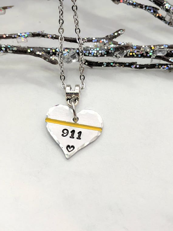 911 Dispatcher Jewelry - 911 Operator Necklace - Thin Gold Line - Dispatcher Gift - Police Dispatcher Jewelry - 911 Professional Gift