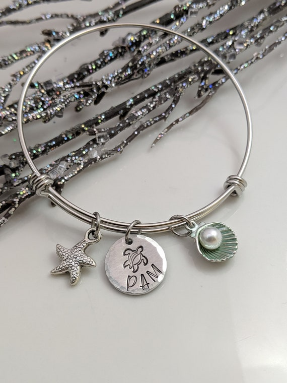 Beach Jewelry - Charm Bracelet - Personalized Bracelet - Beach Girl - Beach Wedding - Ocean Jewelry - Turtle Lover - Gift for Her