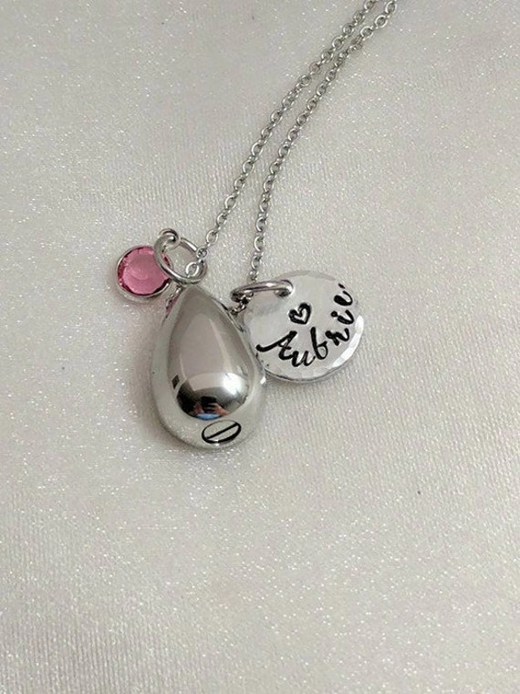 Urns for Ashes - Ash Jewelry - Necklace for Ashes - Personalized - Hand Stamped - Memorial Keepsake - Sympathy Gift - Small Teardrop Urn