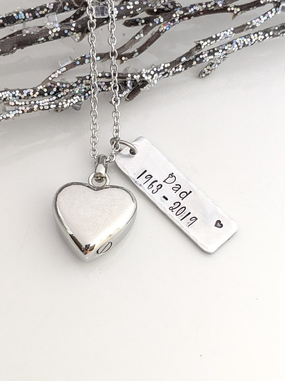 Silver Heart Urn - Personalized Urn Memorial - Urn for Ashes - Cremation Urn - Urn Necklace - Ash Necklace - Loss Gift - Urn Keepsake