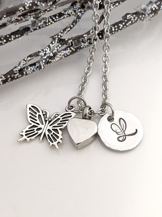 Butterfly Heart Urn Necklace  - Personalized Urn Jewelry - Cremation Urn - Urn for Ashes - Memorial Urn - Keepsake Jewelry