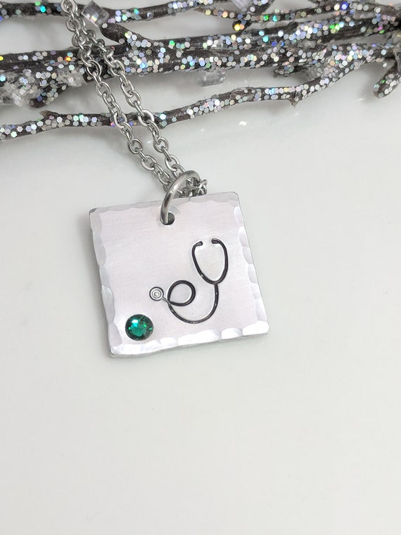 Nurse Gifts - Birthstone Jewelry - Stethoscope Necklace -  Medical School Graduate