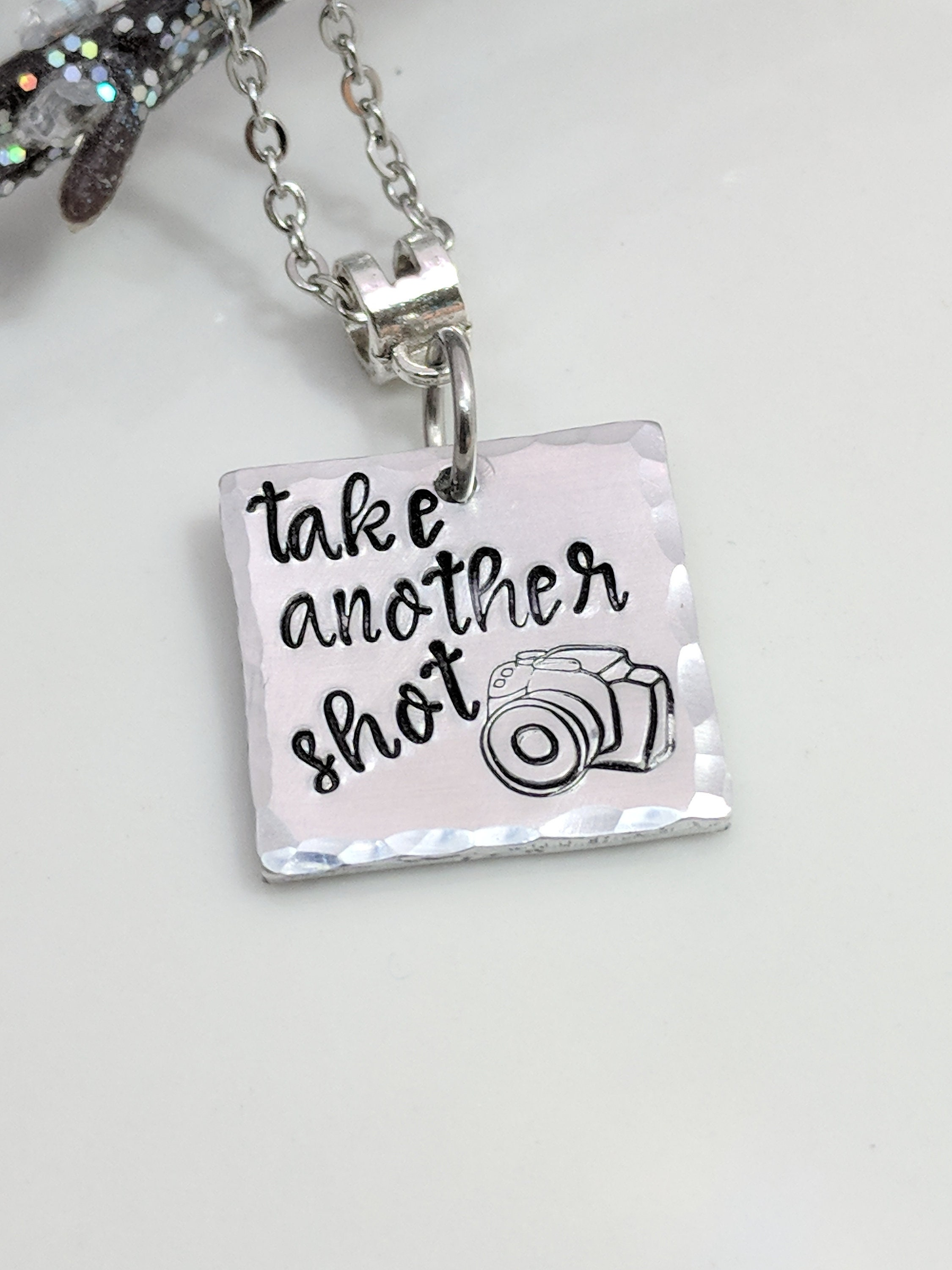 444134f21091 Photographer Gift-Camera Necklace-Photography Jewelry-Take Another  Shot-Hand Stamped Jewelry-Metal Stamped Jewelry-Exquisite Stamp Design