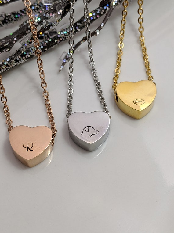 Heart Necklace - Slider Heart - Sport Necklace - Rose Gold Heart - Gold Heart - Silver Heart - Hand Stamped Heart Jewelry