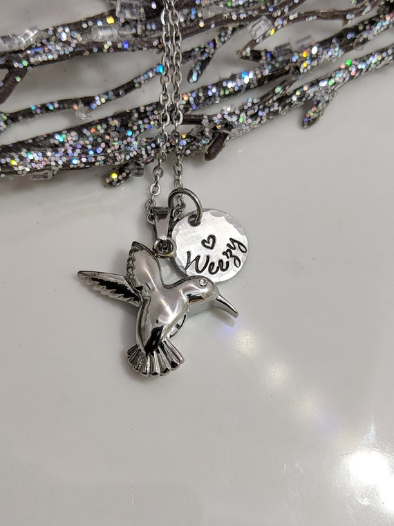 Memorial Jewelry Birthstone Personalized Hummingbird Cremation Urn Necklace Pendant Ashes Jewelry