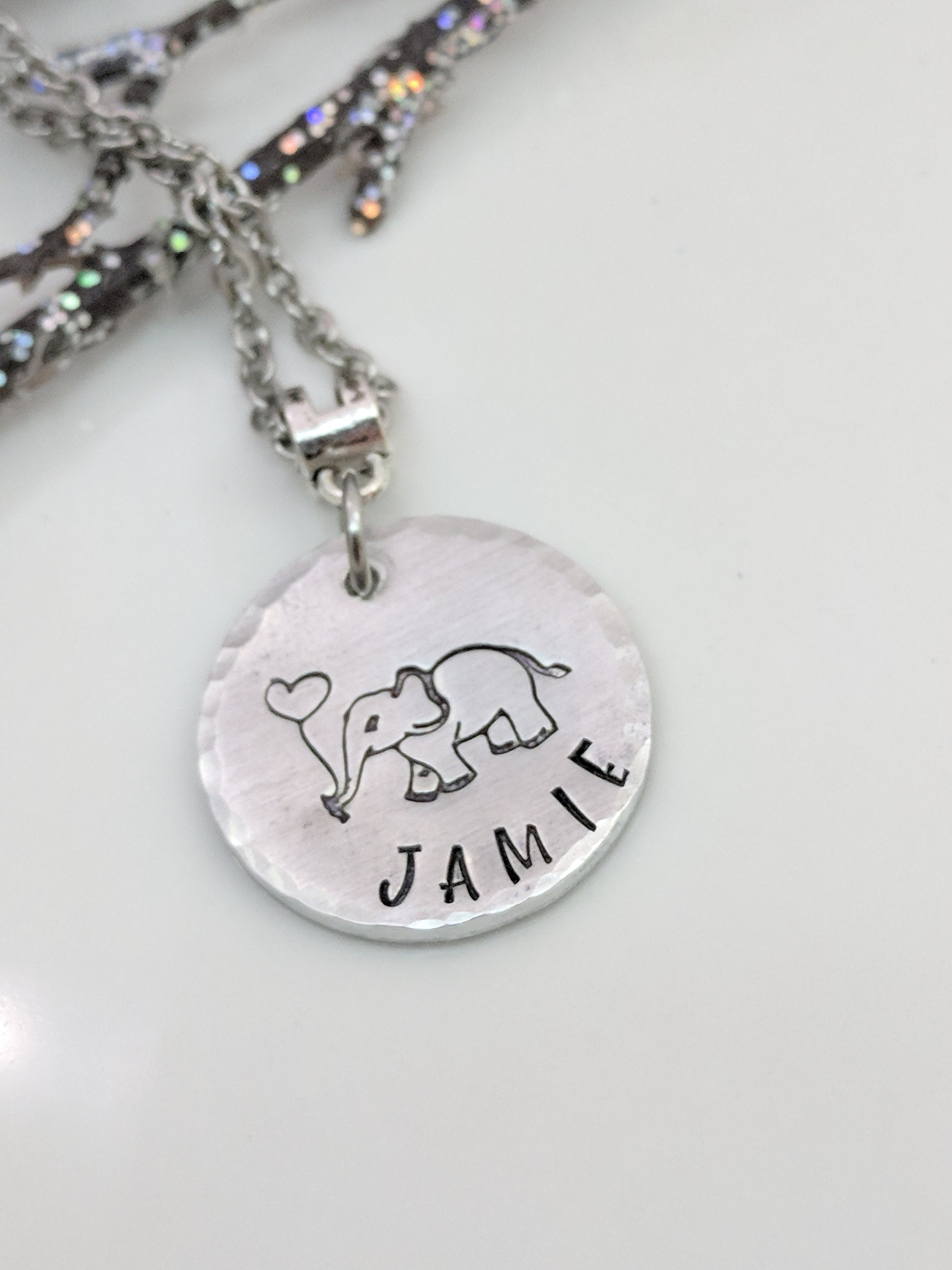 Personalized Elephant Necklace Name Jewelry Best Friends Gift Birthday Lover Handmade For Her Gifts