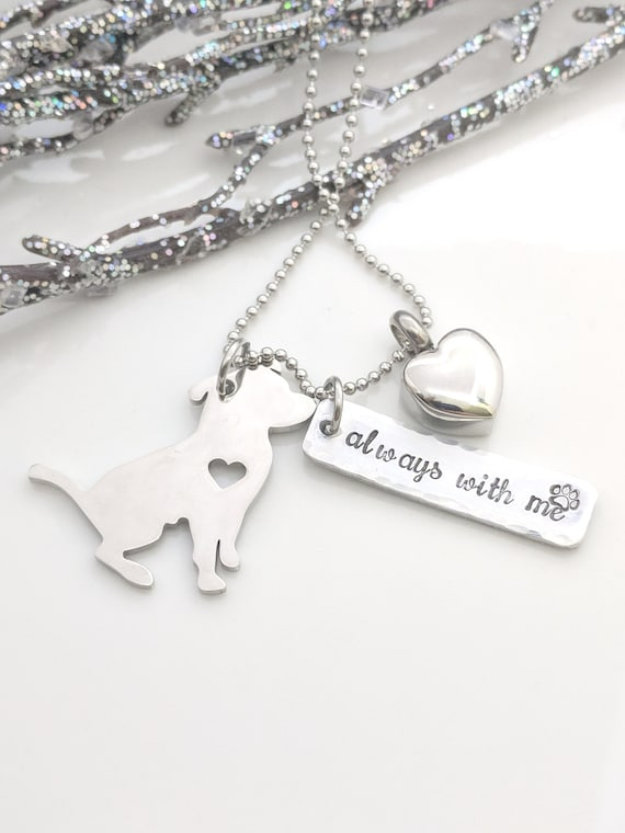 Pet Loss Necklace-Always With Me-Loss of Cat-Loss of Dog-Furbaby Memorial-Loss of Pet Jewelry-Animal Jewelry-Animal Lovers Jewelry-Heart Urn
