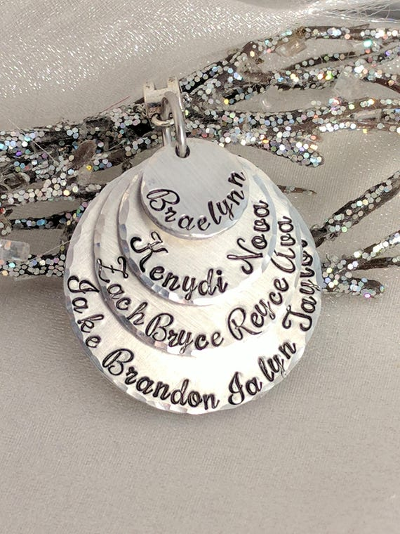 Gift for Grandma-Personalized Grandma Gift-Grandma Jewelry-Name Necklace-Family Tree Necklace-Grandkids Name Necklace-Hand Stamped-Layered
