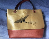 Hand-painted vegan leather Mayfly tote