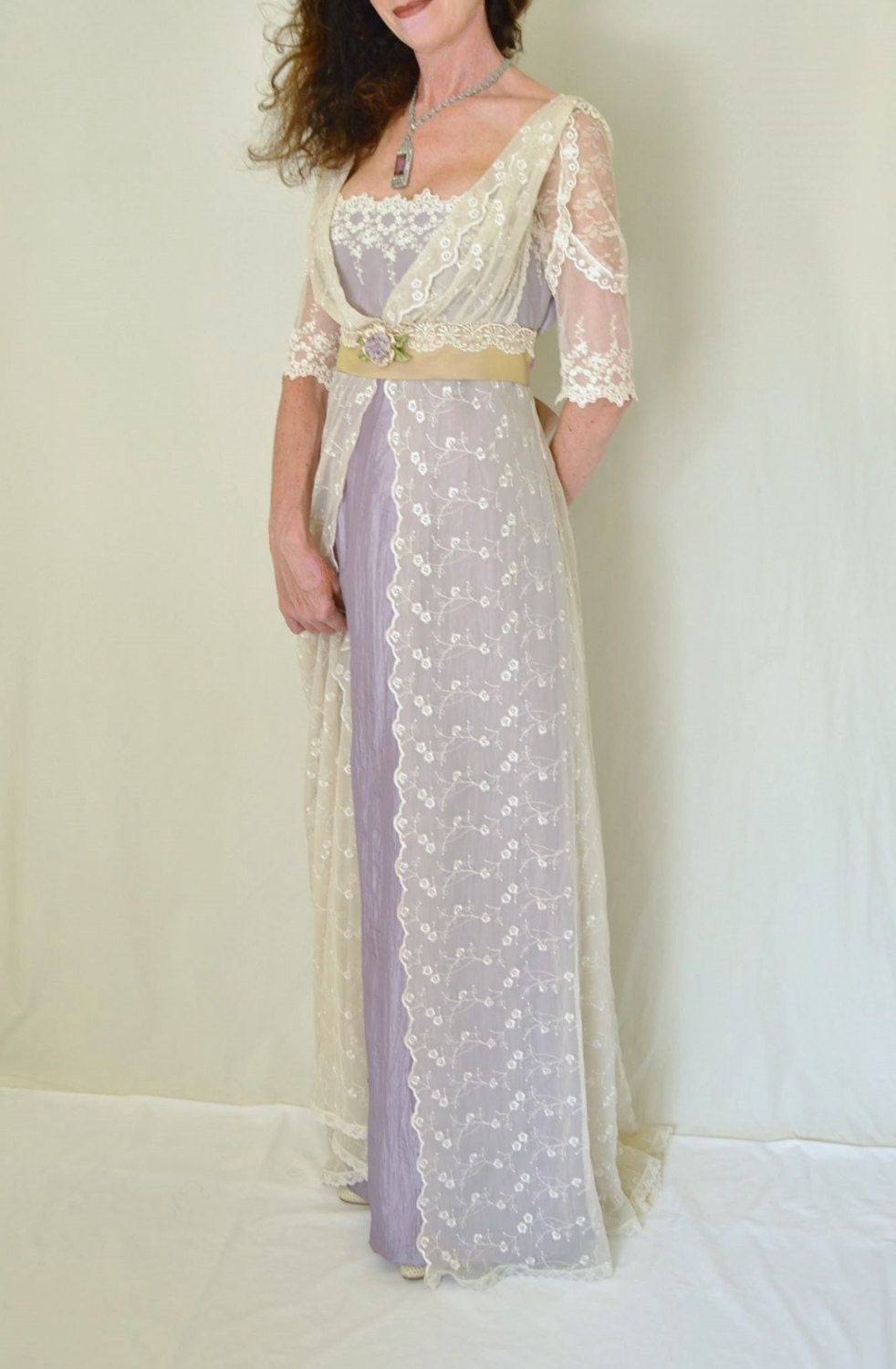1900 Edwardian Dresses, Tea Party Dresses, White Lace Dresses Lace Wedding Dress Edwardian Downton Abbey Titanic Antique Style Lilac and Lace Gown Also Available For Custom Orders In Your Size! $850.00 AT vintagedancer.com