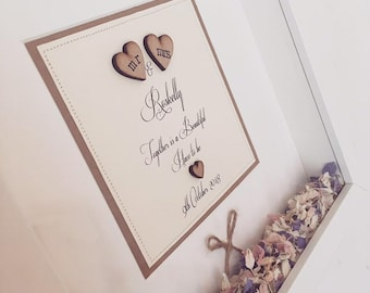 Personalised Wedding Picture, Gift, Shabby Chic, Rustic Wedding, Mr & Mrs Print, Confetti, Petals