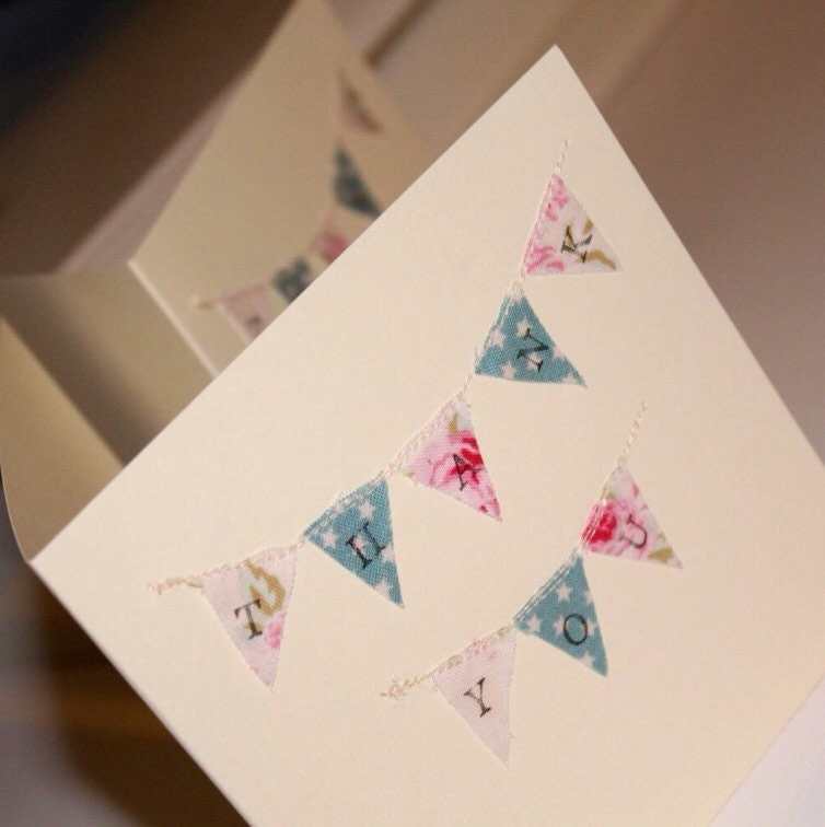 10 X Rustic Shabby Chic Thank You Cards Bunting Thank You Cards