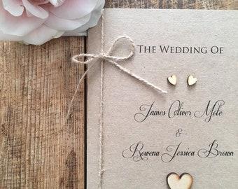 10 x Rustic / Vintage Wedding Order of service / Order of Service Folder / Wedding Order of Service