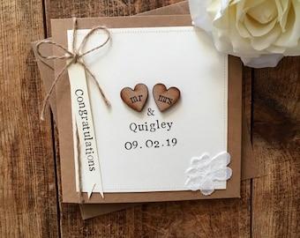 Personalised Wedding Card / Hand Stamped Card / Mr & Mrs Card / Rustic Wedding Card
