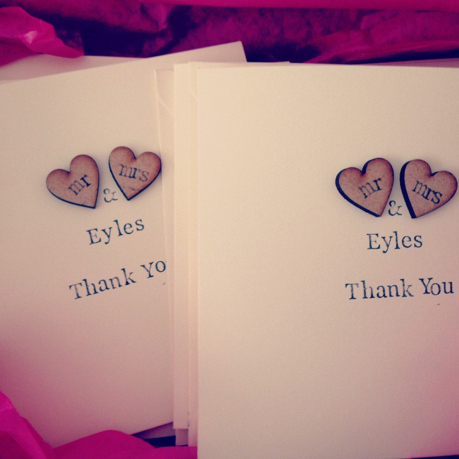 10 X Rustic Shabby Chic Wedding Thank You Cards Personalised Thank