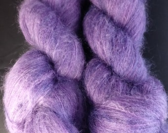 "Mohair/silk laceweight yarn - ""Purple Durple"""