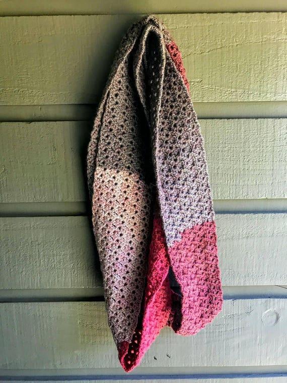Häkeln Sie Schal-roten samt-Lacy häkeln Schal-rot und braun