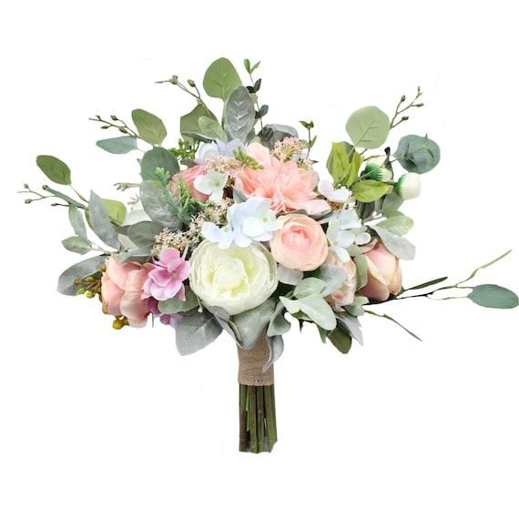 Faux Fake Artificial Silk Boho Rustic Farmhouse Off White Ivory Cream Blush Pale Pastel Pink Beige  Flower Greenery Wedding Bridal Bouquet