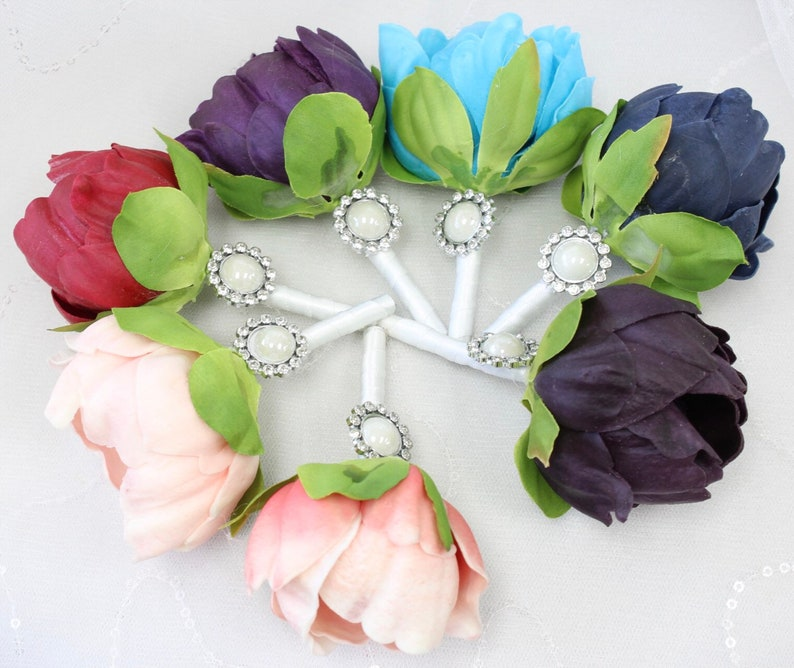 turquoise Boutonniere-Real touch faux keepsake peony-choose color plum white blush purple,spft pink light coral
