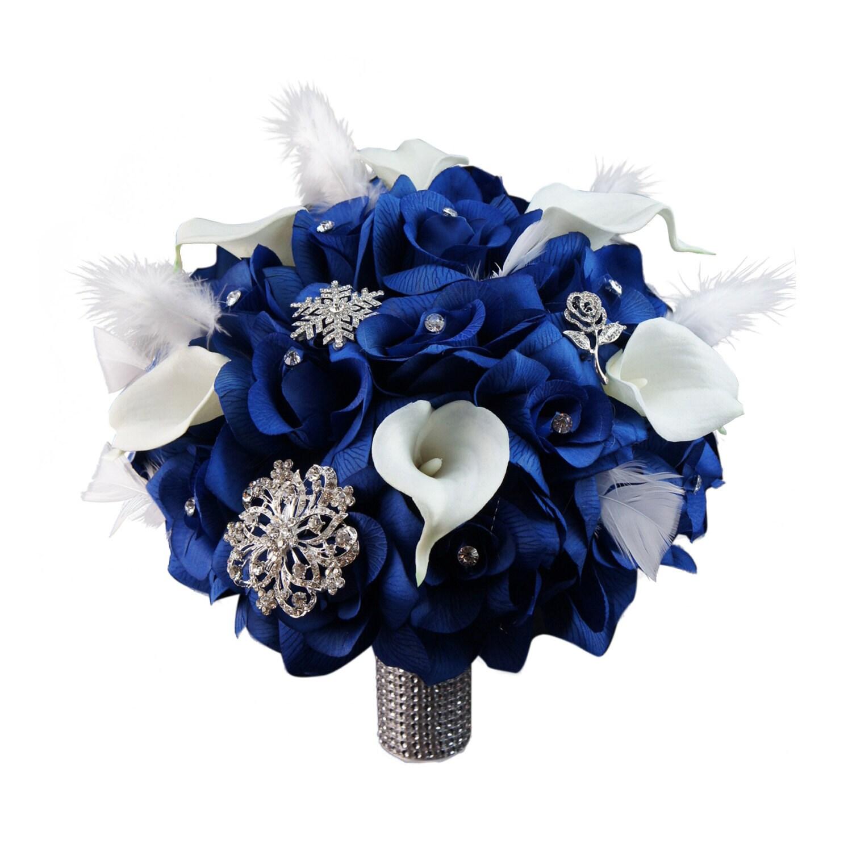10 Wedding Bouquet Royal Blue Roses Calla Lilies Etsy