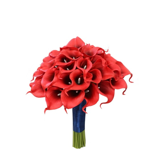 Boutonniere Wedding boutonnieres Red black real touch calla lily