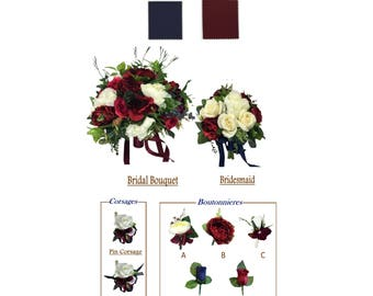 Beautiful wedding flowers-Build your package- burgundy Ivory artificial keepsake flowers bouquet boutonniere corsage