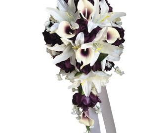 Cascade Wedding Bouquet - Plum Purple and Ivory Artificial Flowers