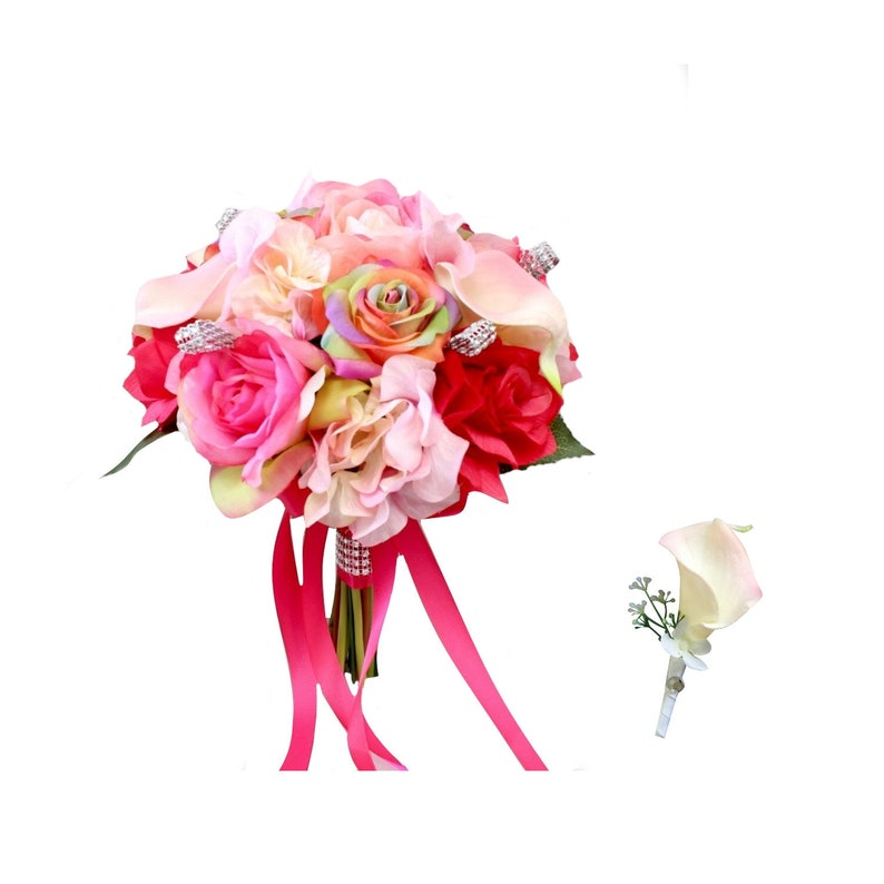 Set of Bouquet and Boutonniere-Prom wedding shades of pinks keepsake artificial flowers