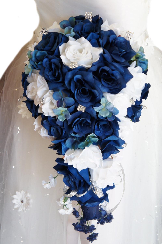 Cascade Wedding Bouquet Light Navy Blue And White Artificial Etsy