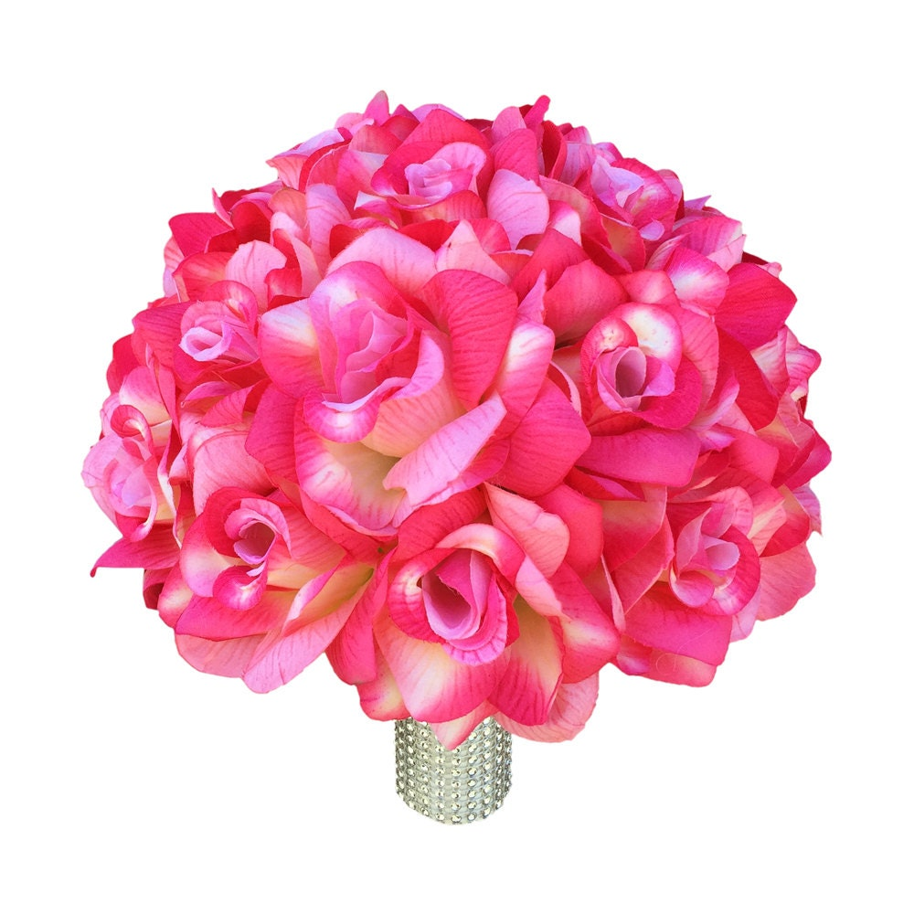 Wedding Bridal Bouquet Shades Of Pink Roses With At Touch Of Etsy